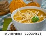 pumpkin soup in a white plate... | Shutterstock . vector #120064615