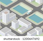 isometric 3d city delivery van. ... | Shutterstock .eps vector #1200647692