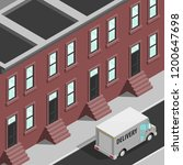 isometric 3d city delivery van. ... | Shutterstock .eps vector #1200647698
