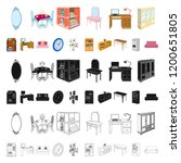 furniture and interior cartoon... | Shutterstock .eps vector #1200651805