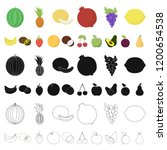 different fruits cartoon icons... | Shutterstock .eps vector #1200654538
