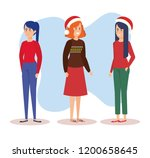 group of girls with december... | Shutterstock .eps vector #1200658645