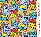 funny doodle monsters seamless... | Shutterstock . vector #1200671332