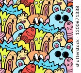 funny doodle monsters seamless... | Shutterstock . vector #1200671338