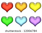 selection of colored hearts for ... | Shutterstock . vector #12006784