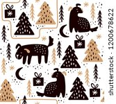 seamless pattern with dogs and... | Shutterstock .eps vector #1200678622