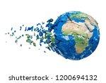 shattering earth globe 3d... | Shutterstock . vector #1200694132