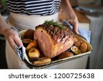 roasted ham food photography... | Shutterstock . vector #1200725638