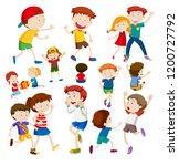 set of happy children...   Shutterstock .eps vector #1200727792
