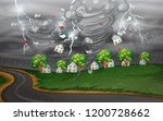 cyclone hit the rural village... | Shutterstock .eps vector #1200728662