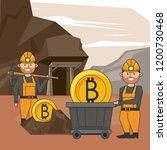 bitcoin mining cartoons   Shutterstock .eps vector #1200730468