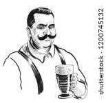 man with a mustache and glass... | Shutterstock . vector #1200745132