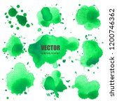 set of splash green watercolor  ... | Shutterstock .eps vector #1200746362