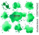 set of splash green watercolor  ... | Shutterstock .eps vector #1200746362