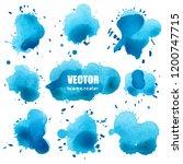 set of splash blue watercolor ... | Shutterstock .eps vector #1200747715