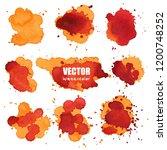 set of splash orange watercolor ... | Shutterstock .eps vector #1200748252