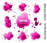 set of splash purple watercolor ... | Shutterstock .eps vector #1200749188