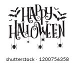 happy halloween text banner ... | Shutterstock .eps vector #1200756358