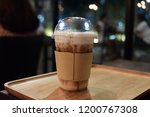 caramel macchiato coffee on...   Shutterstock . vector #1200767308