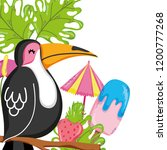 exotic bird and summer | Shutterstock .eps vector #1200777268