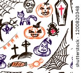 halloween. vector seamless... | Shutterstock .eps vector #1200820348