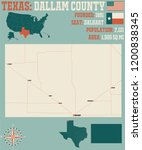 detailed map of dallam county... | Shutterstock .eps vector #1200838345