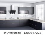 dark kitchen furniture  kithen  ... | Shutterstock . vector #1200847228