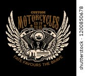 custom motorcycles. winged... | Shutterstock .eps vector #1200850678