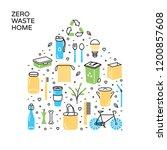 vector zero waste home icon... | Shutterstock .eps vector #1200857608