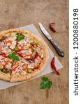 traditional spicy pizza with... | Shutterstock . vector #1200880198