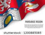 waving flag of pardubice region ... | Shutterstock .eps vector #1200885085