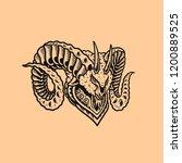 fantasy head goat illustration... | Shutterstock .eps vector #1200889525