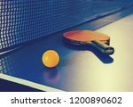 table tennis racket and ball on ... | Shutterstock . vector #1200890602