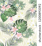 Stock vector tropical vector seamless background with palm leaves and flowers vintage textile print 1200893392