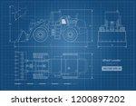blueprint of wheel loader. top  ... | Shutterstock .eps vector #1200897202