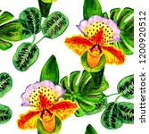 exotic flowers and leaves in... | Shutterstock . vector #1200920512