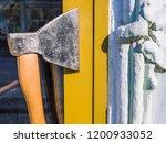 door handle made of an ax.... | Shutterstock . vector #1200933052