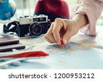 the young girl tourist planning ... | Shutterstock . vector #1200953212