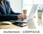 business woman working in... | Shutterstock . vector #1200953218