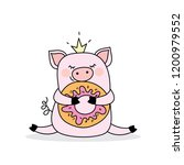 funny pig with donut pork... | Shutterstock .eps vector #1200979552
