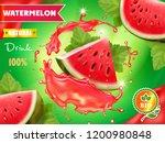 watermelon juice advertising... | Shutterstock .eps vector #1200980848