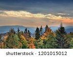 autumn sunset in beskid... | Shutterstock . vector #1201015012