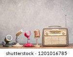 retro portable broadcast radio ... | Shutterstock . vector #1201016785