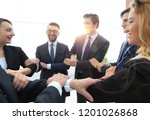 closeup. business team showing... | Shutterstock . vector #1201026868