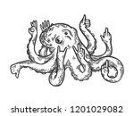 fantastic fabulous octopus... | Shutterstock . vector #1201029082