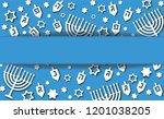 hanukkah blue background with...   Shutterstock .eps vector #1201038205