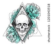 human skull with peony  rose... | Shutterstock .eps vector #1201043518