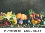 fall vegetarian food ingredient ... | Shutterstock . vector #1201048165