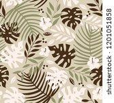 vector seamless tropical leaves ... | Shutterstock .eps vector #1201051858