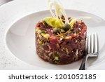 beef tartare with leek  capers... | Shutterstock . vector #1201052185